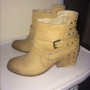 Tan ankle boots with studded backs